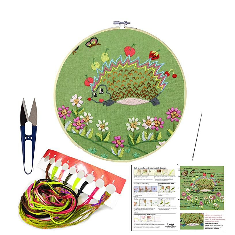 Full Set of Handmade Embroidery Starter Kit with Cute Animal Pattern Including Embroidery Cloth,Bamboo Embroidery Hoop, Color Threads, and Tools Kit?for Beginners (Hedgehog)