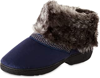 isotoner Women's Recycled Microsuede Mallory Boot Slipper, with Memory Foam, Navy Blue, 8.5-9