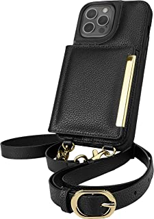 Smartish iPhone 12 Pro Max Crossbody Case - Dancing Queen [Purse/Clutch with Detachable Strap & Card Holder] - Stiletto Bl...