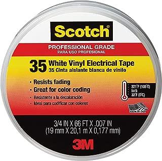 Scotch #35 Electrical Tape, 10828-DL-2W, 0.75 in x 66 ft x 7 mil, White