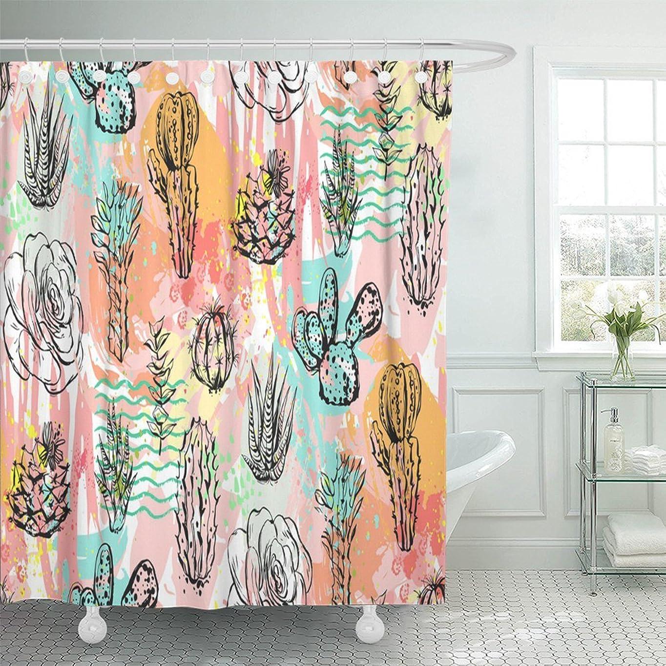 ホイスト才能寄り添うEmvency 装飾シャワーカーテン 抽象画 グラフィック クリエイティブ 多肉植物サボテンとカラフルな芸術的なブラシの植物 珍しい72×66インチ 防水 防カビ バスルームカーテン 72