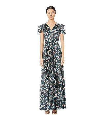 ML Monique Lhuillier Long Pleated Dress (Navy Multi) Women