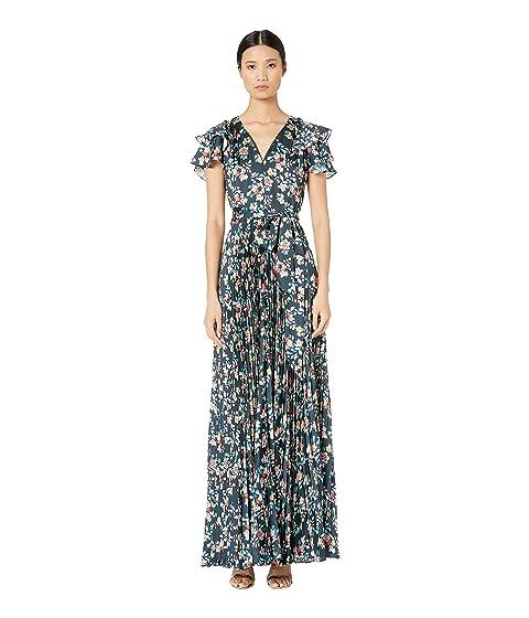 ML Monique Lhuillier Long Pleated Dress