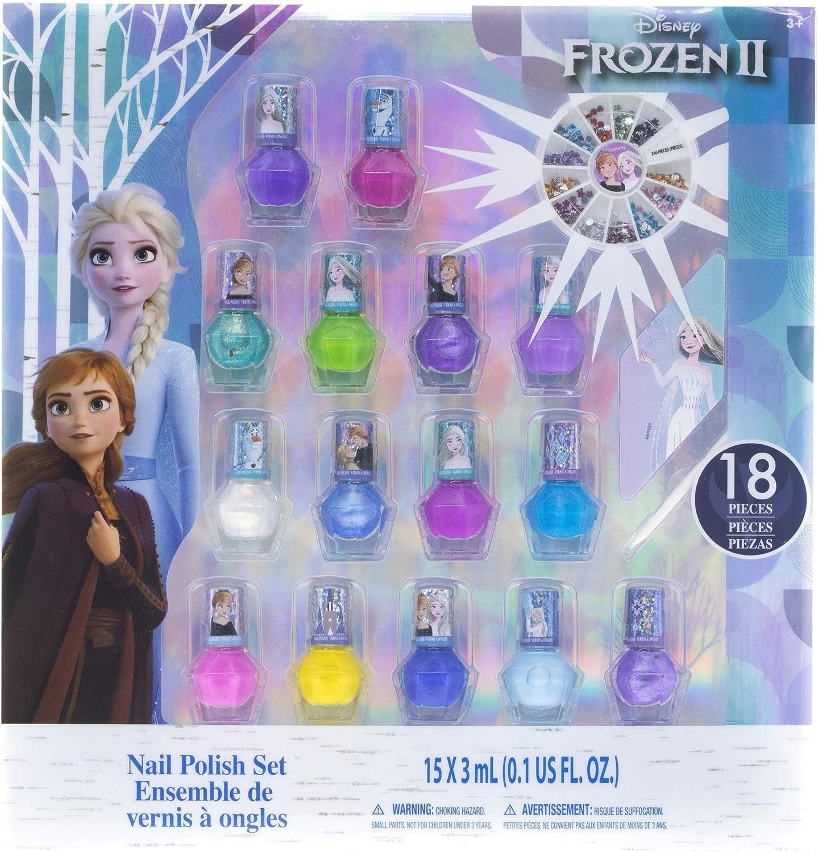 Townley Girl Frozen 2 Juego De Esmaltes De Uñas No Tóxicos Para Niñas, Colores Brillantes Y Opacos, Con Gemas De Uñas, Mayores De 3 Años (Paquete De 15), Para Fiestas, Pijamadas Y Cambios De Imagen 