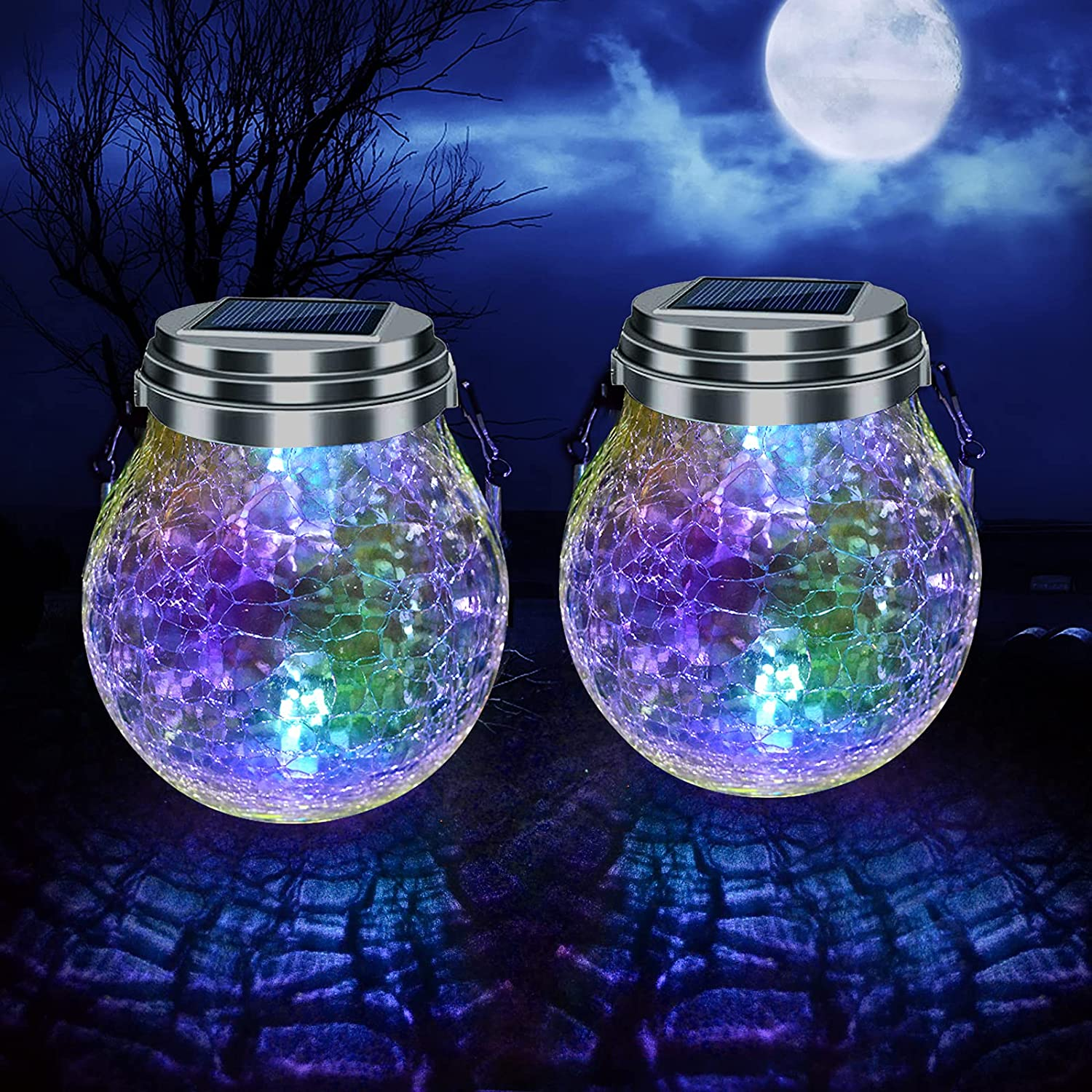 Yipetor Outdoor Hanging Solar Lights, Colorful Crackle Glass Ball, LED Waterproof Solar Powered Globe Lamp with Handle for Garden Tree Yard Patio Lawn Halloween Gifts Decoration, 2 Pack
