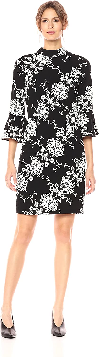 Adrianna Papell Womens Fit and Flare Sleeve Sheath Dress