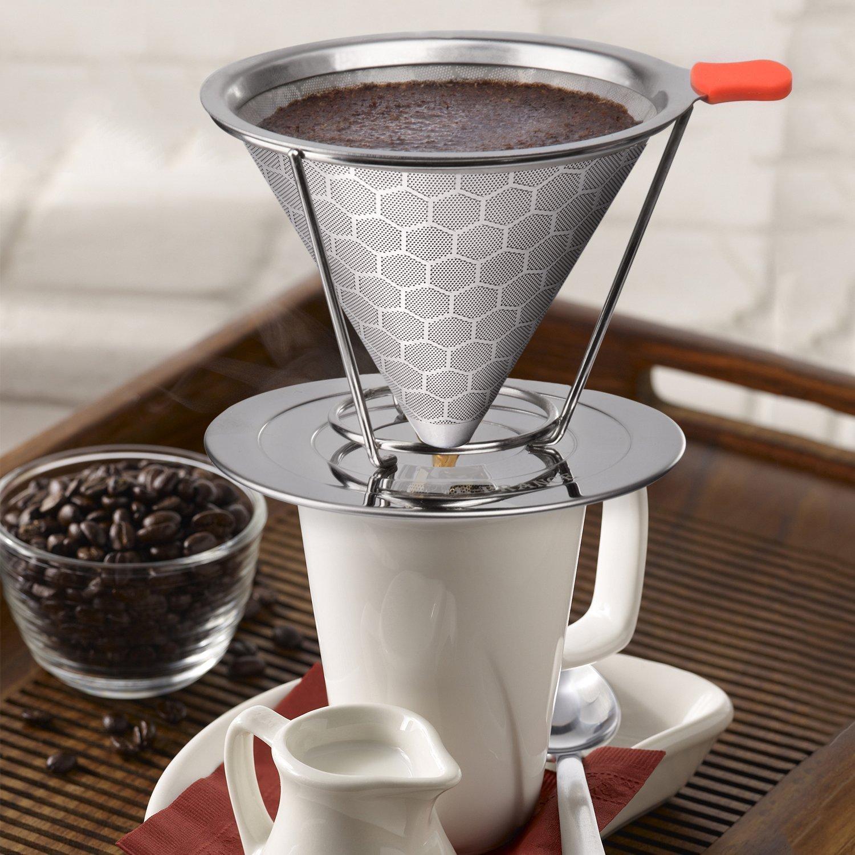 Ginnix Filtro de Café - Cono café Goteo Sin Papeles, Filtros ...