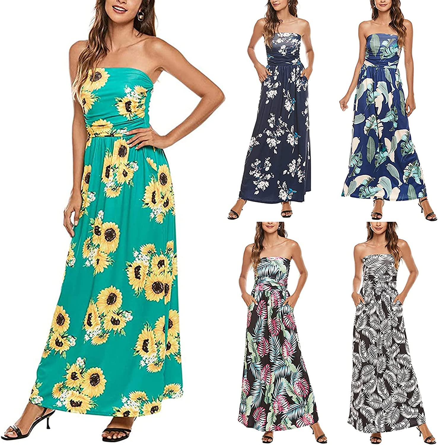 Women Sexy Strapless/Tube Top Maxi Long Dresses Causal Sleeveless Floral Printed Pleated Tunic Pocket Beach Sundress