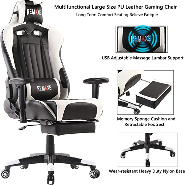 Gaming Chairs High Back Ergonomic PC Gaming Chair Computer Racing Chair Office Chair Desk Chair Video Gaming Chair Swivel Executive Leather Chair With Lumbar Support And Headrest White