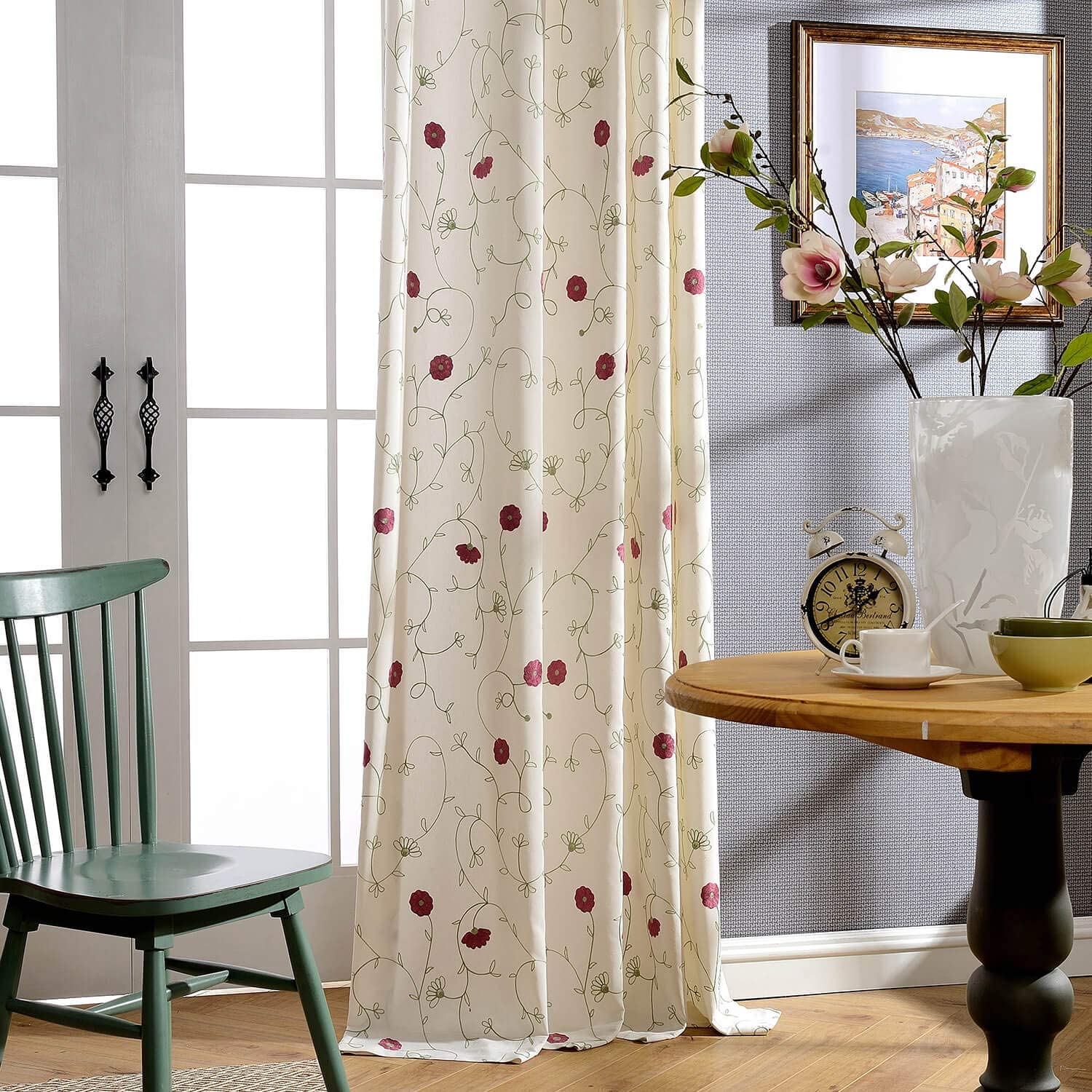 VOGOL European Simple Floral Embroidered Curtains Red Elegant Faux Linen Curtain for Living Room 52x96 Inch, 2 Panels, Top Grommet