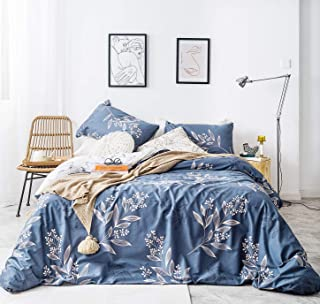 SUSYBAO Branches Duvet Cover Set Queen Size 100% Natural Cotton 3 Piece Tree Leaves Bedding Set 1 Reversible Botanical Duvet Cover with Zipper Ties 2 Pillowcases Hotel Quality Soft Comfortable Durable
