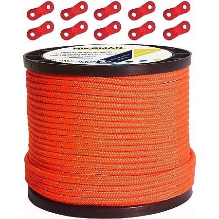 テントロープ パラコード タープロープ ガイロープ 反射 ガイライン 自在金具付き 50m アルミ自在金具 ボビン巻 キャンプ ロープ 4mm/5mm 耐久性