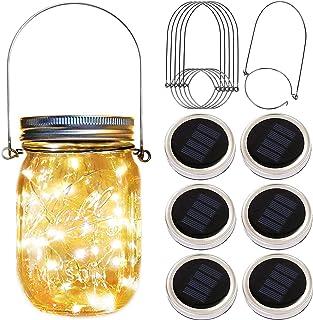 Solar Mason Jar Lid Lights,6 Pack 30 Led Fairy Firefly String Jar Lids Lights,6 Hangers Included(No Jars),Outdoor Solar La...