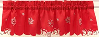 Embroidered Metallic Snowflake 58Wx12L Insert Valance-Red