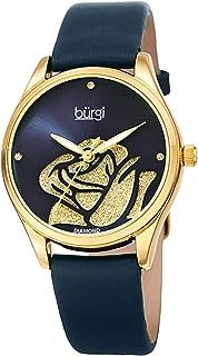ساعة بورغي للنساء مرصعة بالالماس - وردة مقصوصة مع بودرة لامعة مع 4 ساعات من الماس على حزام من الجلد الساتان - BUR189