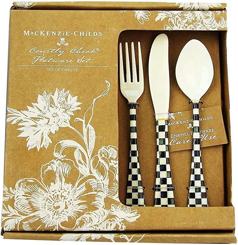 MACKENZIE CHILDS 12 PIECE SET COURTLY CHECK ENAMELED FLATWARE