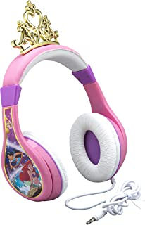 Kids Headphones for Kids Disney Princess Adjustable Stereo Tangle-Free 3.5mm Jack Wired Cord Over Ear Headset for Children Parental Volume Control Kid Friendly Safe Perfect for School Home Travel