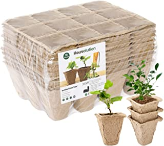 Housolution Seedlings Starter Trays, [10PCS] Biodegradable 12Grids Peat Pots for Gardening Seed Starter Tray, Eco-friendly...
