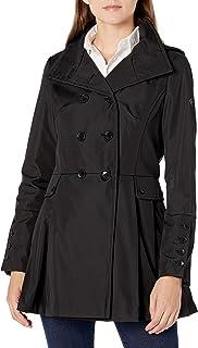 Calvin Klein Womens Skirted rain Coat, BLK, S