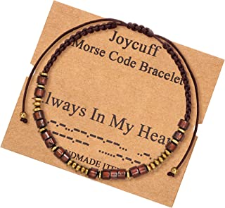 Morse Code Bracelets for Women Men Inspirational Unique Gifts for Her Girls Mom Daughter Best Friend Gold Wood Beads on Si...