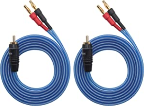 KK Cable Q-P2 18 GAUGE OFC Speaker Wire Pair with RCA Male (White & Red) to 2 Pair Banana (4banana) Plugs, Q-P2 (1.5M(4.92ft))