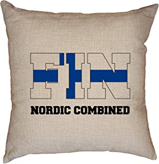 Hollywood Thread Finland Olympic - Nordic Combined - Flag - Silhouette Decorative Linen Throw Cushion Pillow Case with Insert