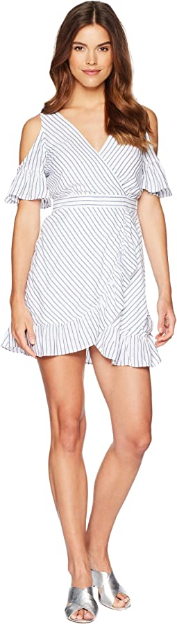 BB Dakota - Fong Striped Faux Wrap Dress