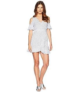 Fong Striped Faux Wrap Dress