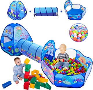 3 in 1 Kids Play Tent with Play Tunnel, Ball Pit, Basketball Hoop for Boys & Girls, Toddler Pop Up Playhouse Toy for Baby ...