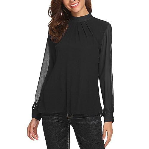 7910b74c2aa57 SoTeer Long Sleeve Chiffon Blouse Women s Loose Casual Cuffed Sleeve  Layered Tops