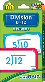 School Zone - Division 0-12 Flash Cards - Ages 9 and Up, 3rd Grade, 4th Grade, Math Equations, Division Problems, Numbers 1-12, and More