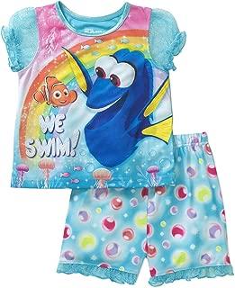 Disney Finding Dory Toddler Girl We Swim Puff Sleeve Top and Short Pajamas 2-Piece Set (5T)