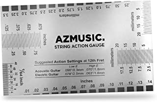 AZMUSIC String Action Gauge, Guitar Set Up Luthier Tool for Electric Bass and Acoustic Guitar