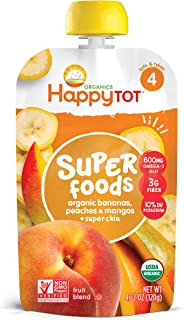 Happy Family Organics Tot Stage 4 Super Foods Pouch - Banana, Peaches and Mango + Super Chia, Non-GMO, Gluten Free, 120 gm