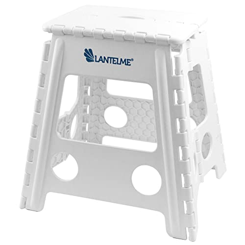 Lantelme - Taburete plegable (40 cm de altura, máx. 120 kg) Taburete plegable de plástico, color blanco.