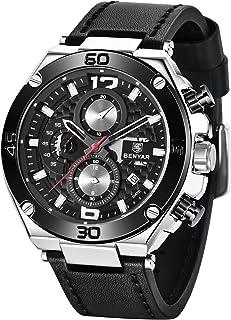 Montres Hommes BY BENYAR Chronographe Date Étanche Design élégant Bracelet Analogique Quartz en Cuir Montres Bracelet pour...