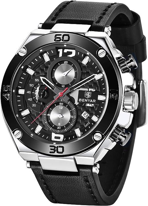 Orologio uomo by benyar cronografo analogico impermeabile BY5151