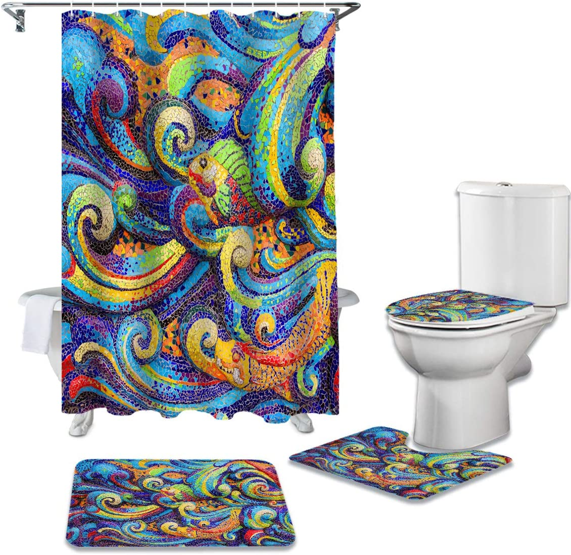 16PCS Shower Curatin Set Ultra-Cheap Deals with Non-Slip Large Mat Bath Max 82% OFF Toi Small