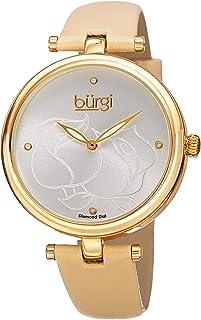 ساعة بورغي للنساء بمينا لون فضي وسوار من الجلد - BUR151YG