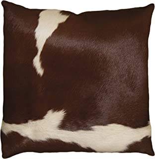 Best Natural Torino Kobe Handcrafted Soft Touch Natural Cowhide Pillow with Polyfil Insert and Zipper Closure, Brown & White, 18 in x 18 in Review