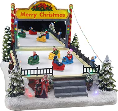 Christmas Village Bumper Cars Animated Pre-lit Carnival Musical Snow Village with Moving Bumper Cars Perfect Addition to Your