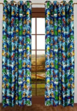 Homefab India Kid's Polyester 2 Piece Jungle Design Door Curtain (7ft, Aqua Blue)