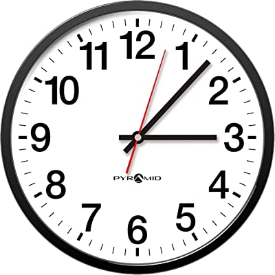 Pyramid Time Systems Analog Wall Clock - 12 Hour Face - 14 inch - Q12210 - Home, School, Factories or Office, Battery Operated, Black Bezel, White Clock Face