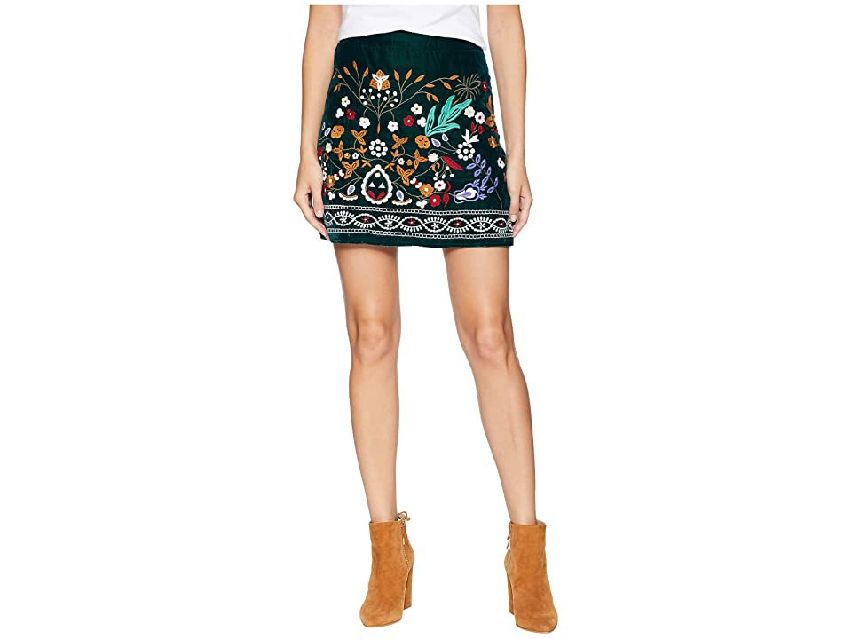 ROMEO & JULIET COUTURE Multicolor Embroidered Mini Skirt (Ink Green) Women