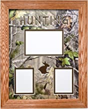 Northern Promotions, LLC. Framed & Matted Wildlife Art Real Tree Hunting Collage - Hunting Rabbit (Light Oak)