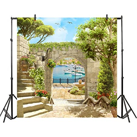 Medieval 6x8 FT Photo Backdrops,Old Medieval Town with Stone Houses on The Valley Historical Europe Tuscany Background for Baby Birthday Party Wedding Vinyl Studio Props Photography Cream Blue Green