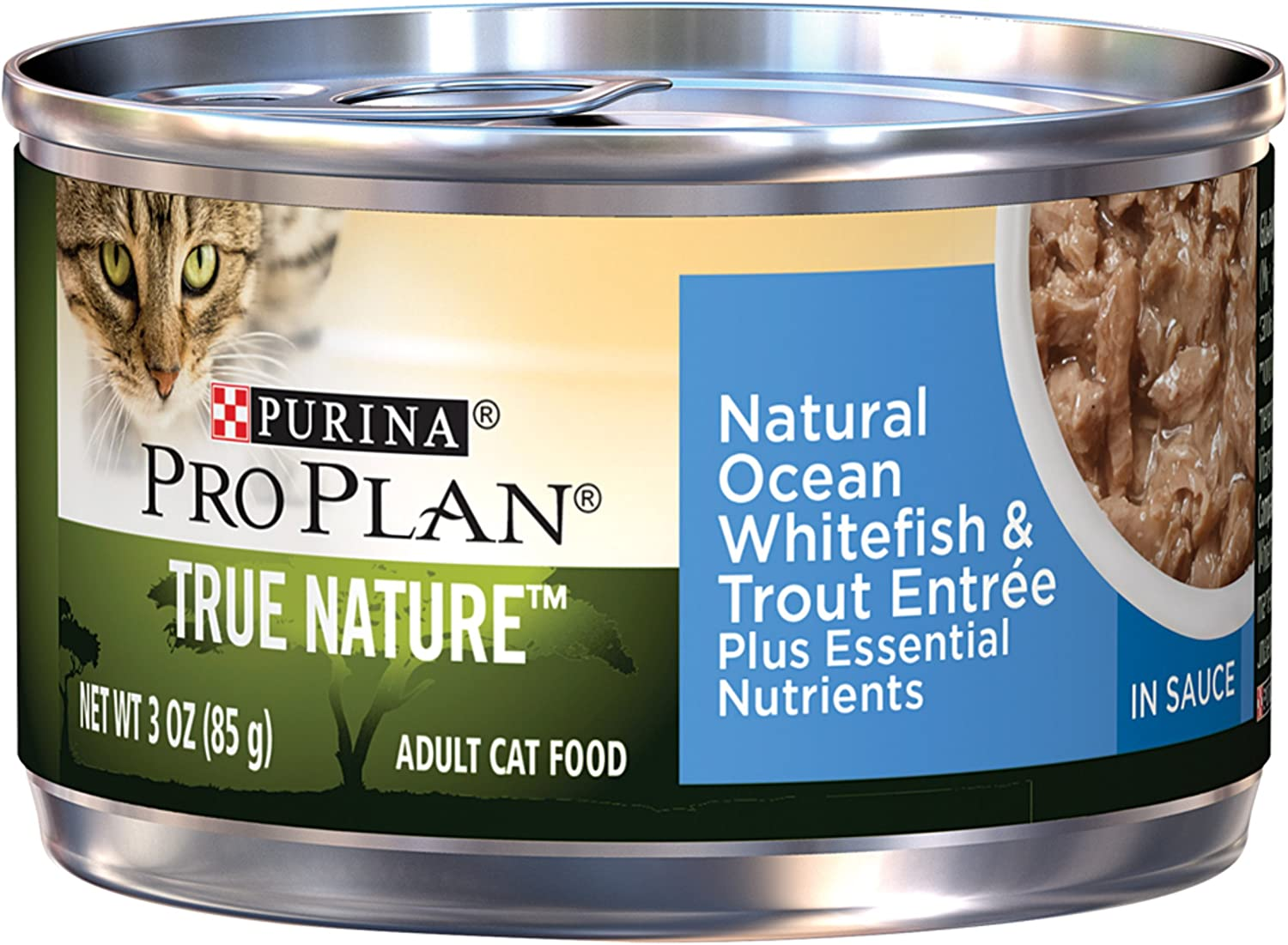 Purina Pro Plan Wet Cat Food, Tue Nature, Natural Ocean Whitefish & Trout Entrée, 3Ounce Can, Pack of 24