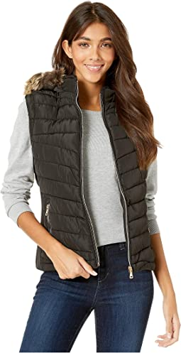 Polyfill Puffer Vest with Faux Fur Trim Hood