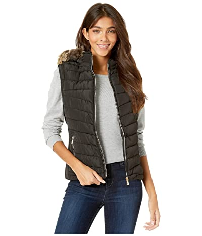 YMI Snobbish Polyfill Puffer Vest with Faux Fur Trim Hood (Black) Women