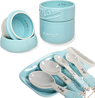 Mason Jar Kitchen Utensil Set - Includes Measuring Cups + Spoon Rest + Measuring Spoons (Blue)